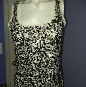 White House Black Market small beige sequin front